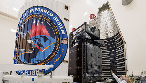 The Air Force's Space Based Infrared System Geosynchronous Earth Orbit Flight-4 satellite completed encapsulation on January 9, 2018.