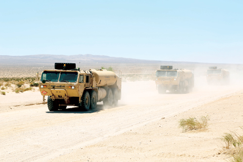 Convoy of tanks